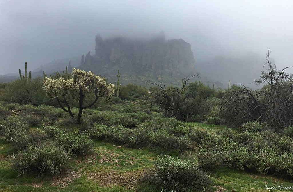The Superstition Mountains on a rainy and foggy day