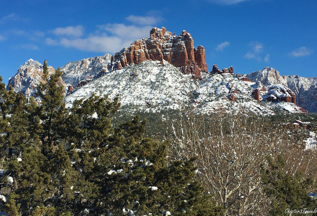 Snow dusted red rocks in Sedona