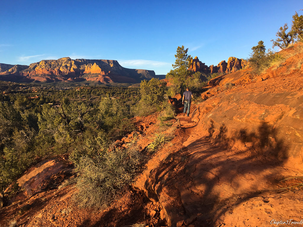 Kevin walking along a trail in Sedona at sunset