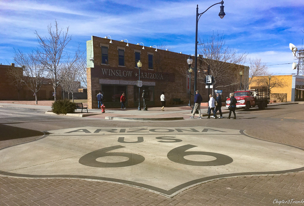 "View from across the street of ""Standin on the Corner Park"" in Winslow, Arizona"