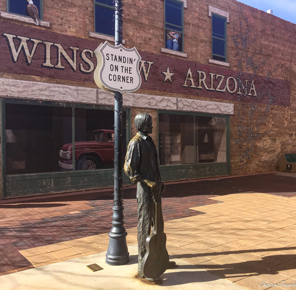 "Statue of Jackson Browne at ""Standin on the Corner Park"" in Winslow, Arizona"