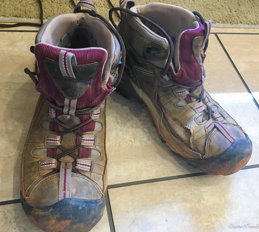 Old, worn out hiking boots
