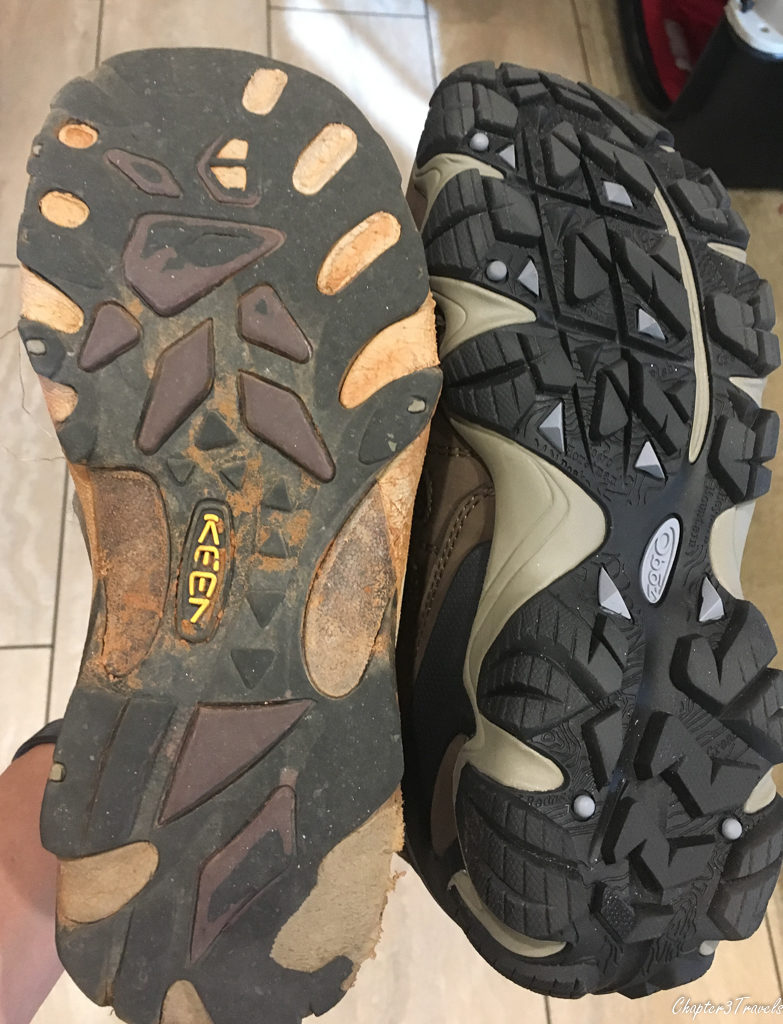 Comparison of tread on old boots and new boots
