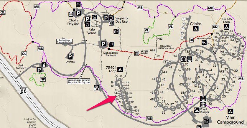 Map of campground loops at Lost Dutchman State Park