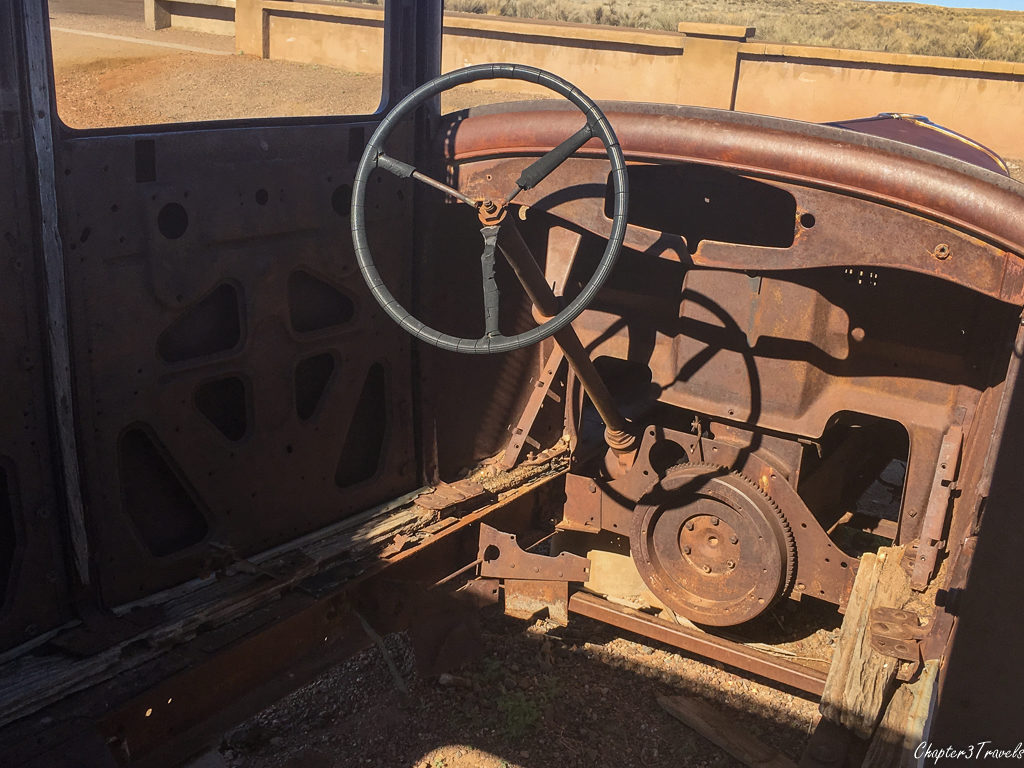 Interior of stripped down Studebaker at Petrified Forest National Park