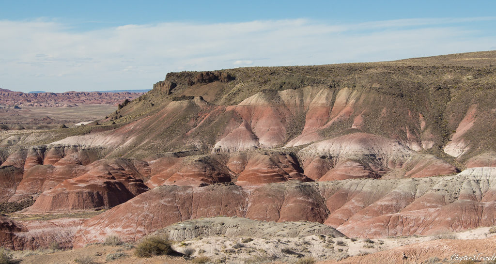 Red and pink striated rock at Petrified Forest National Park