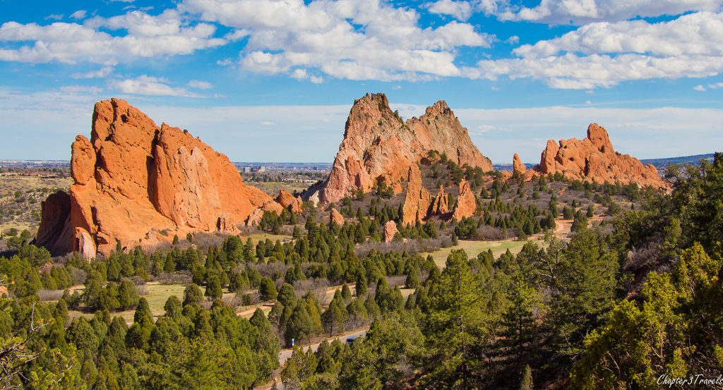 View of large rock formations at Garden of the Gods Park