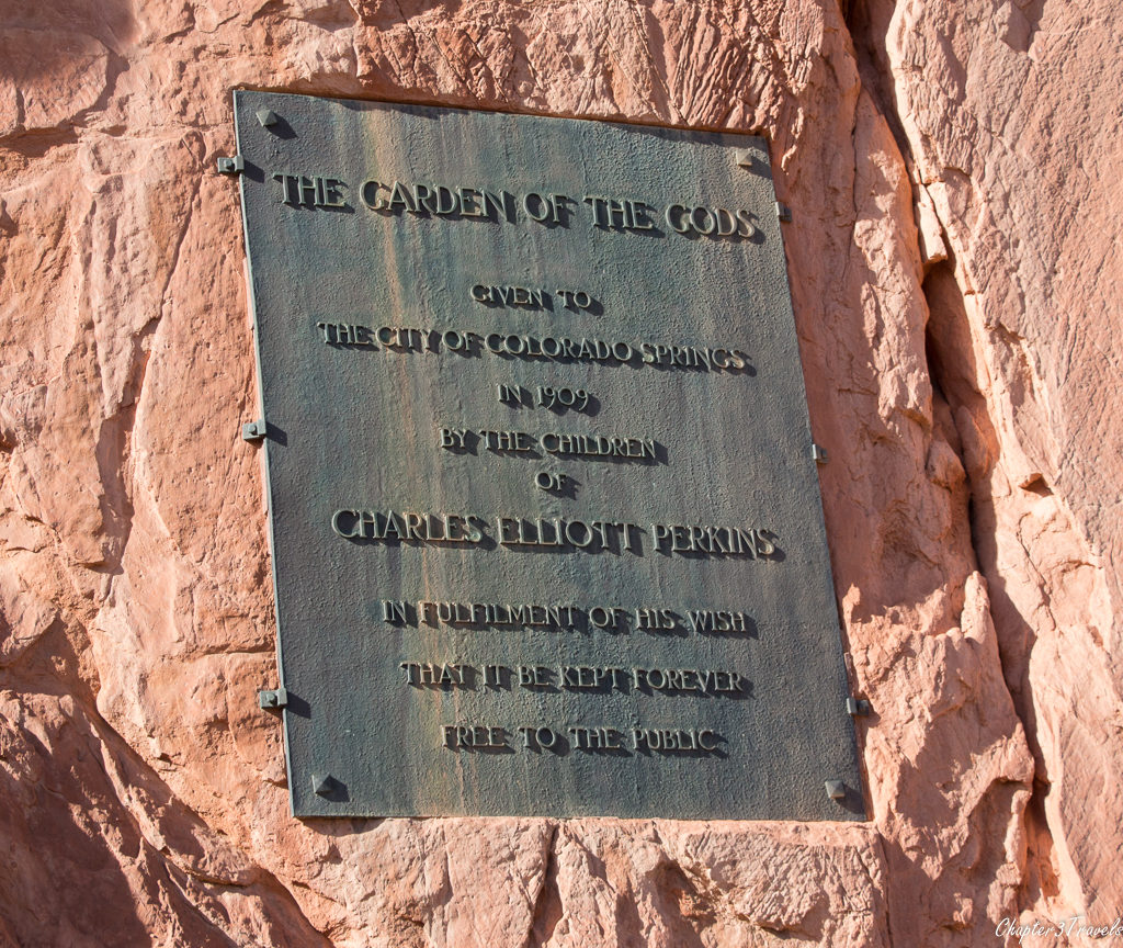Plaque on wall at Garden of the Gods Park