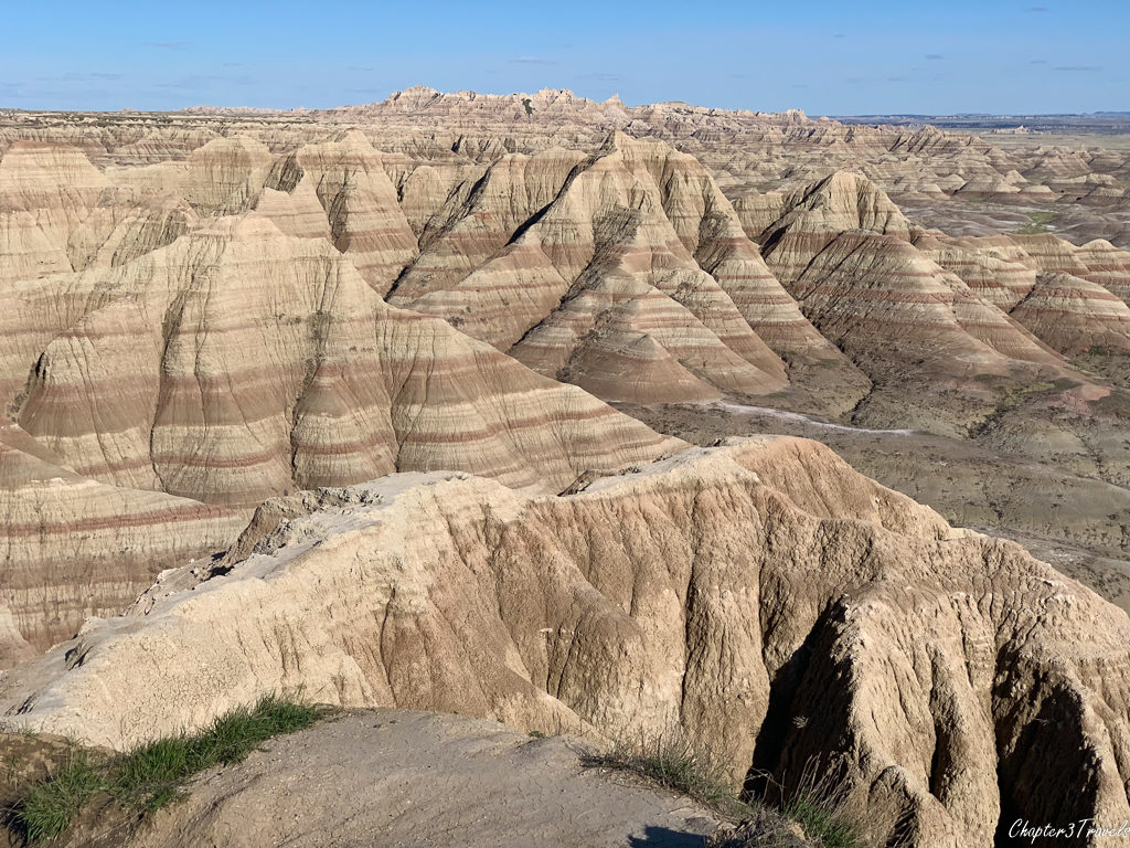 Layered rock formations at Badlands National Park in South Dakota