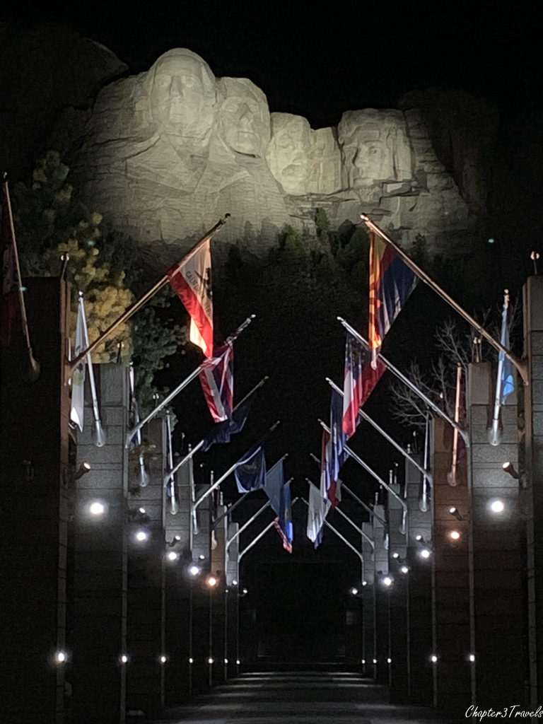 Night time view of promenade leading to Mount Rushmore in South Dakota