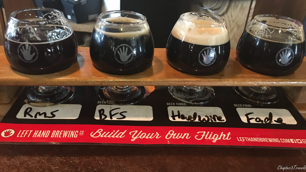 Flight of stouts at Left Hand Brewing