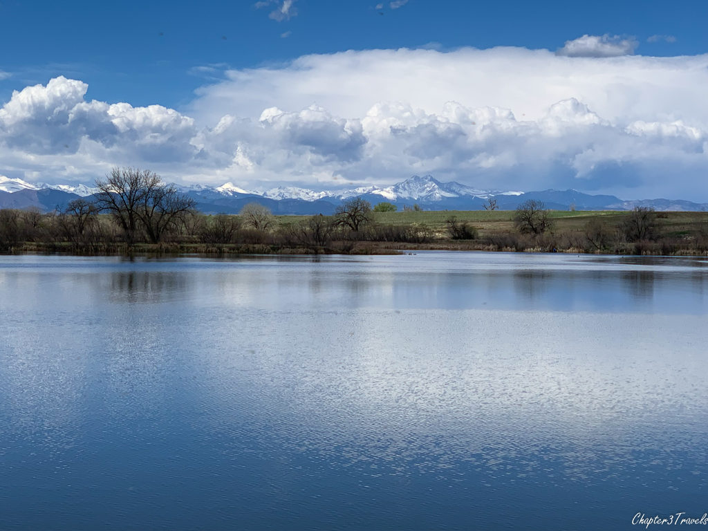View of lake and mountains at St. Vrain State Park
