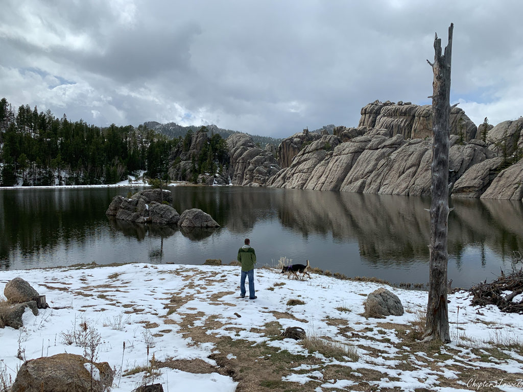 Picture of Kevin and Thor on the banks of Sylvan Lake at Custer State Park in South Dakota