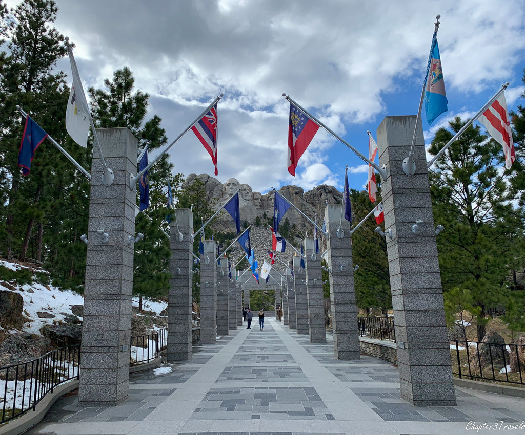 The flag decorated promenade that leads to Mount Rushmore in South Dakota