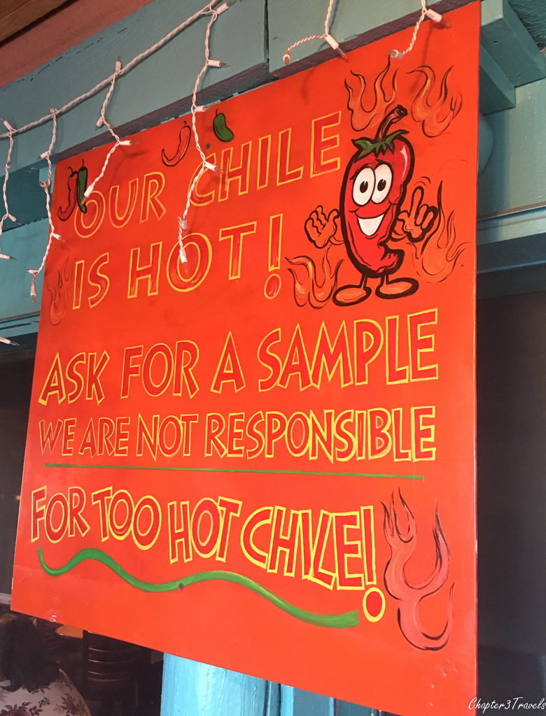 Hot Chile sign at Cafe Castro in Santa Fe