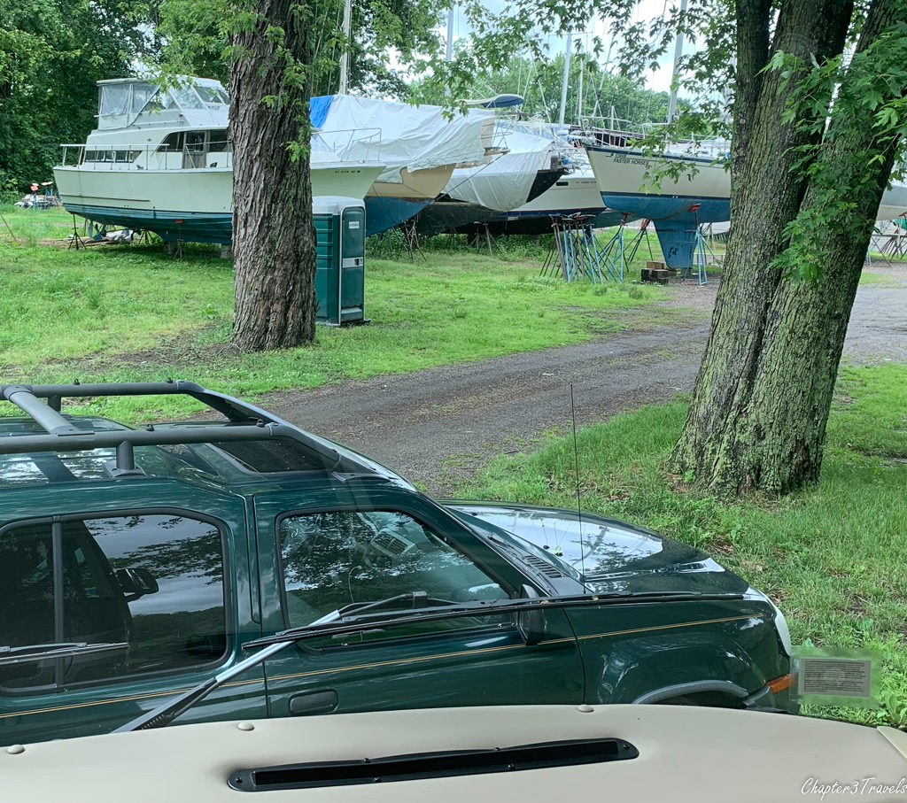 View of dry docked boats at Portland Riverside Campground