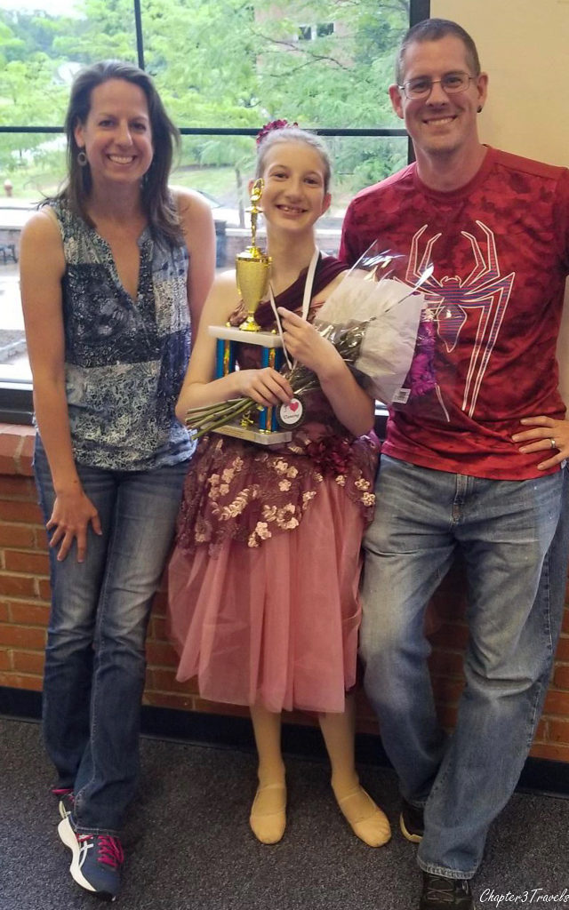 Us with our niece after her dance performance
