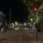 Burlington pedestrian area after dark