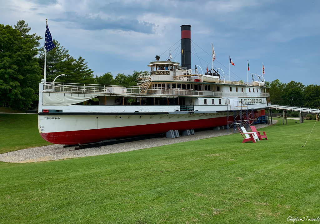 The Ticonderoga steamship located at the Shelburne Museum in Shelburne, Vermont