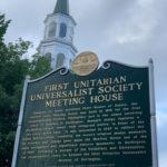 Church and historic marker in Burlington, Vermont