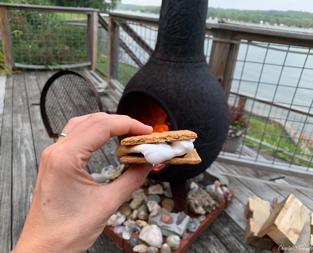 S'mores in front of outdoor fireplace