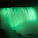Niagara Falls lit up at night in bright colors