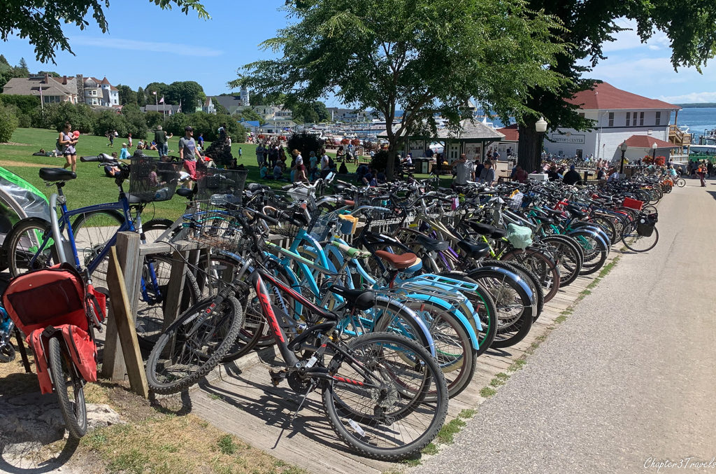 Bike racks on Mackinac Island