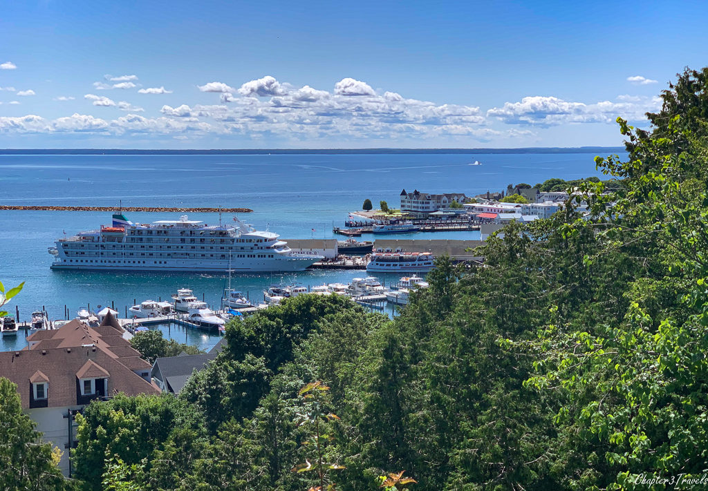 Cruise ship docked at Mackinac Island