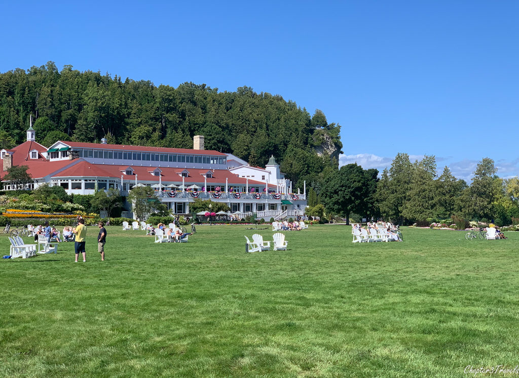Large inn with lawn on Mackinac Island