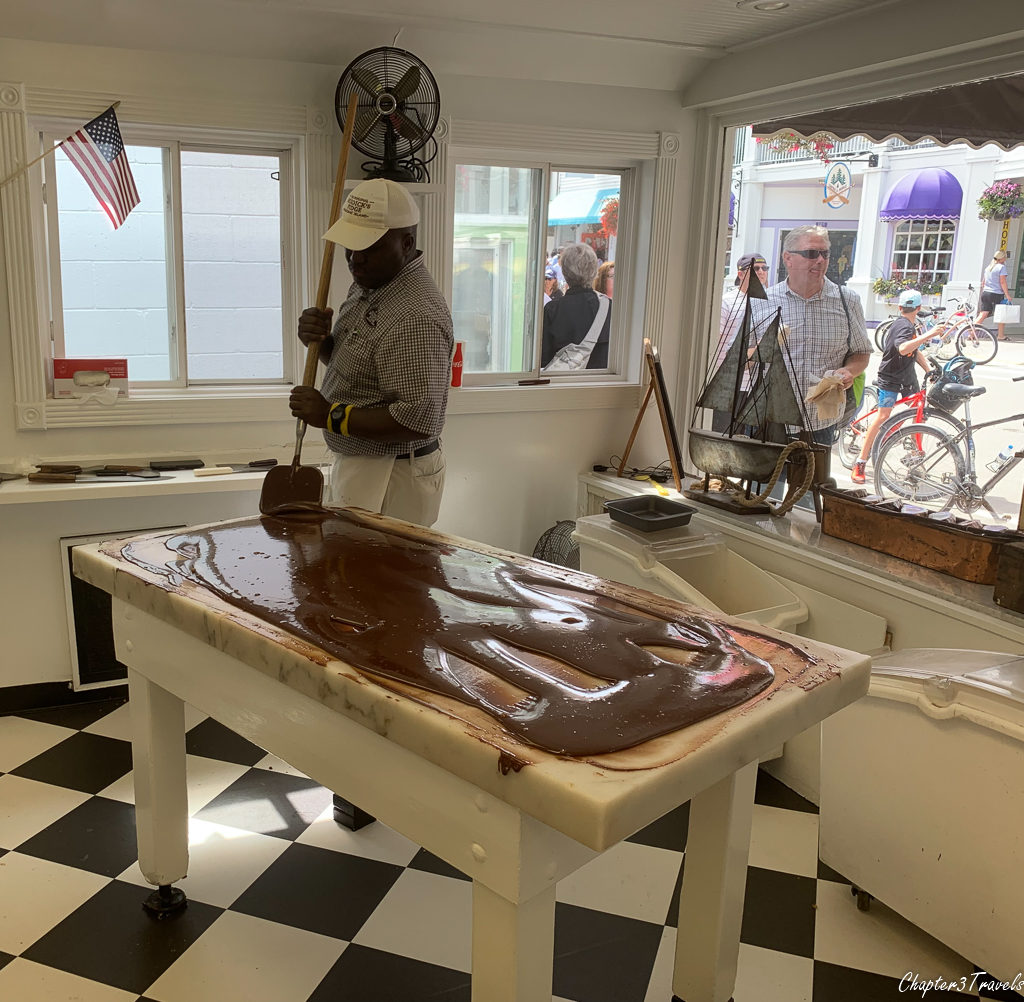 Employees making fudge at Murdick's Fudge in Mackinac Island