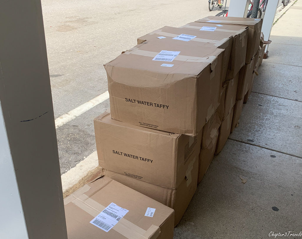 Boxes of salt water taffy