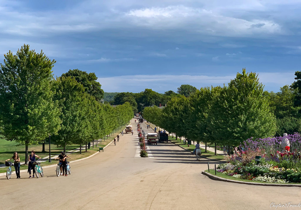 Tree-lined road leading to the Grand Hotel on Mackinac Island