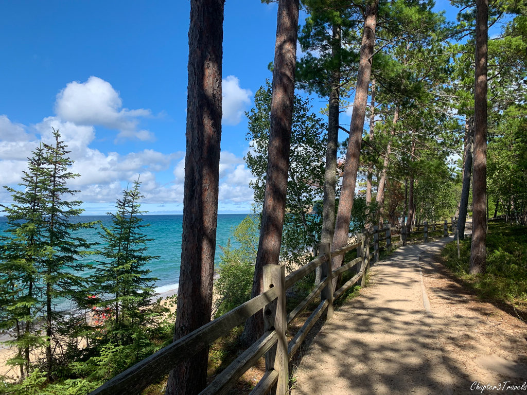 Forested path and beach at Pictured Rocks National Lakeshore