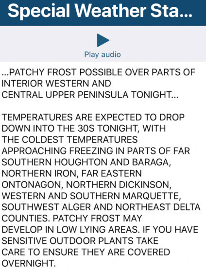 Frost warning forecast