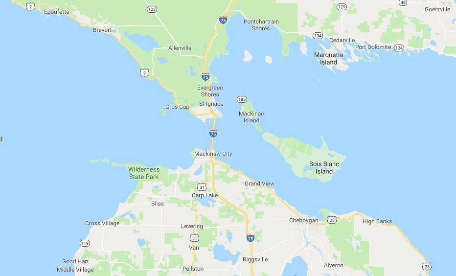 Map of Mackinac Island and surrounding area