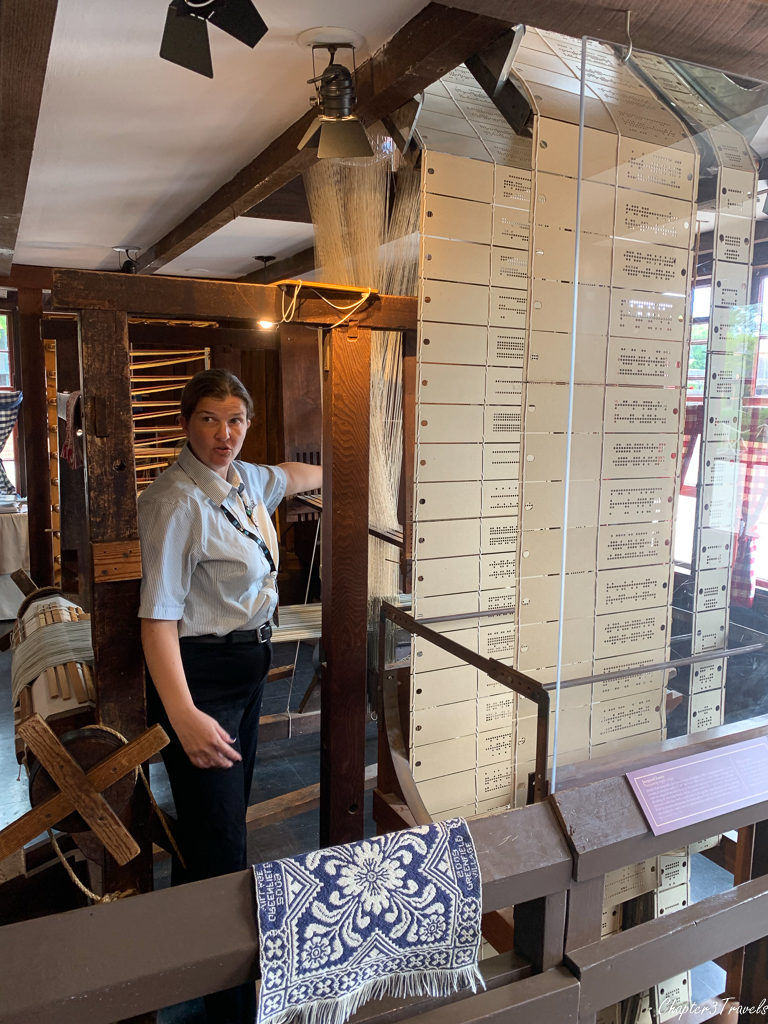 A loom that uses punch cards at Greenfield Village
