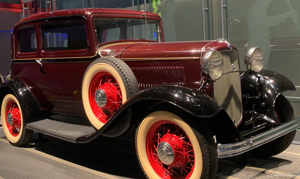 A vintage Ford at the Ford Rouge Factory in Michigan