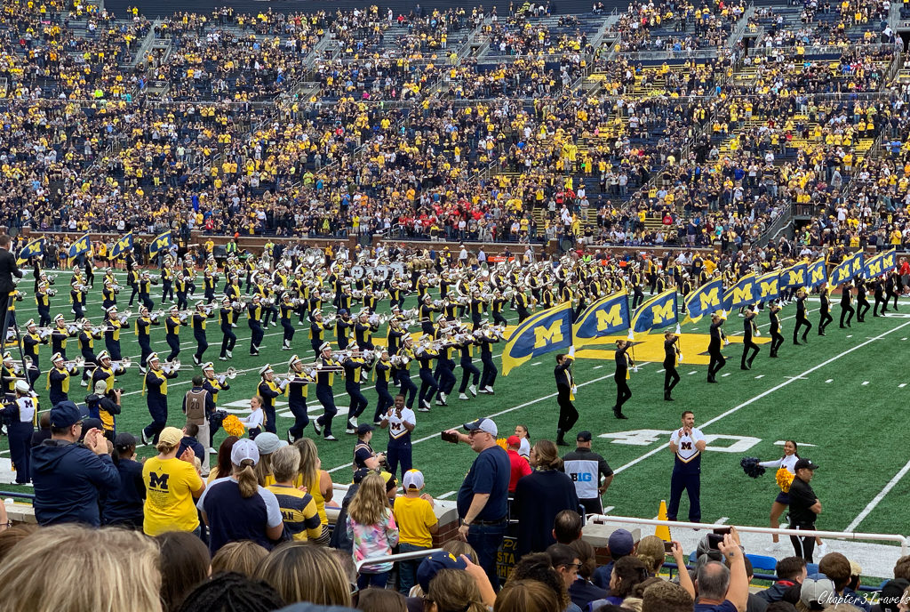 Marching band on the field at University of Michigan football game
