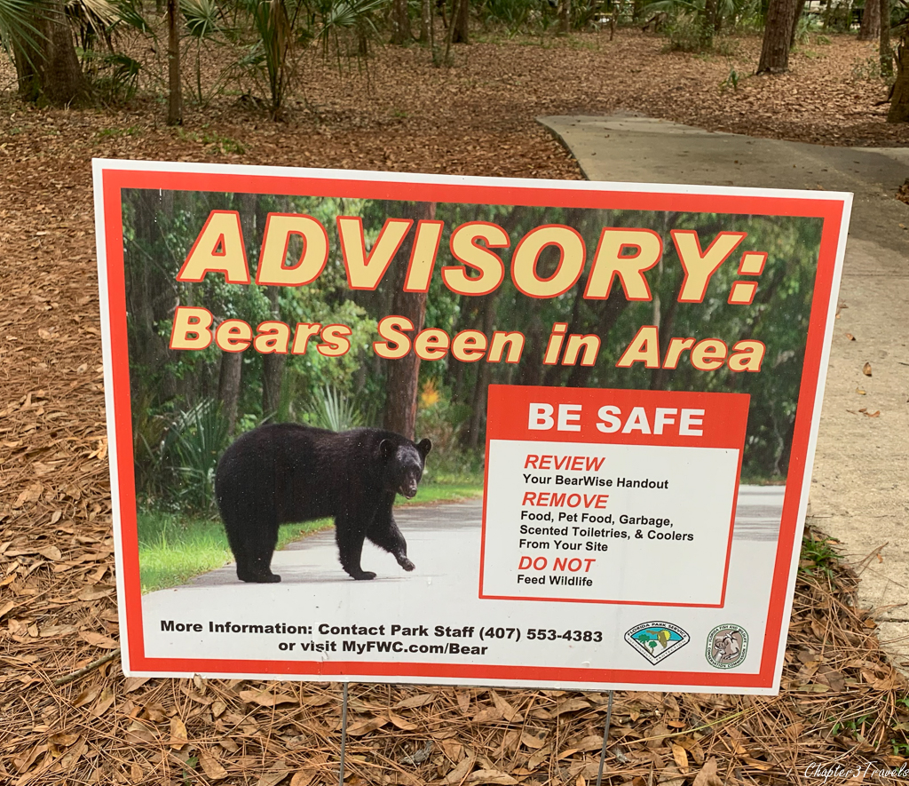 Warning sign about bears in the area