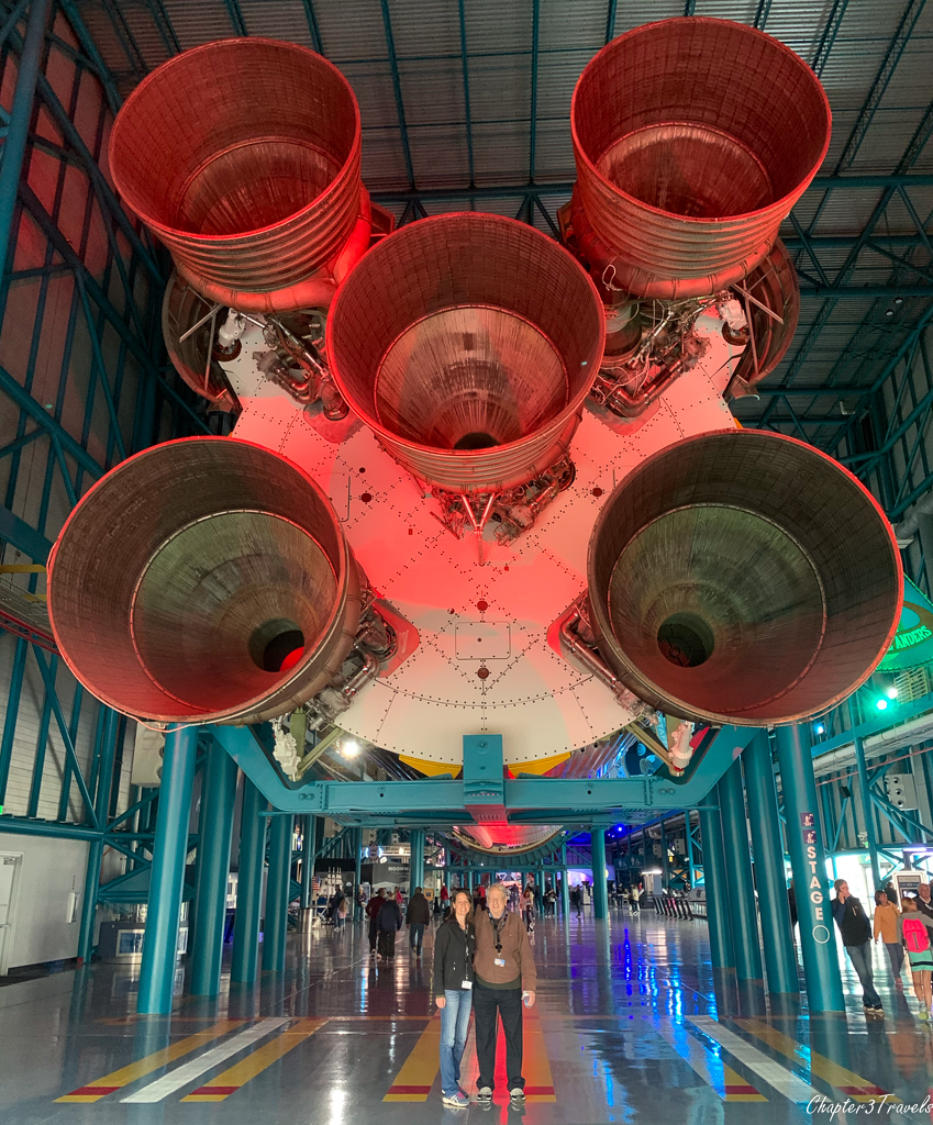 The bottom of the Saturn V rocket at Kennedy Space Center