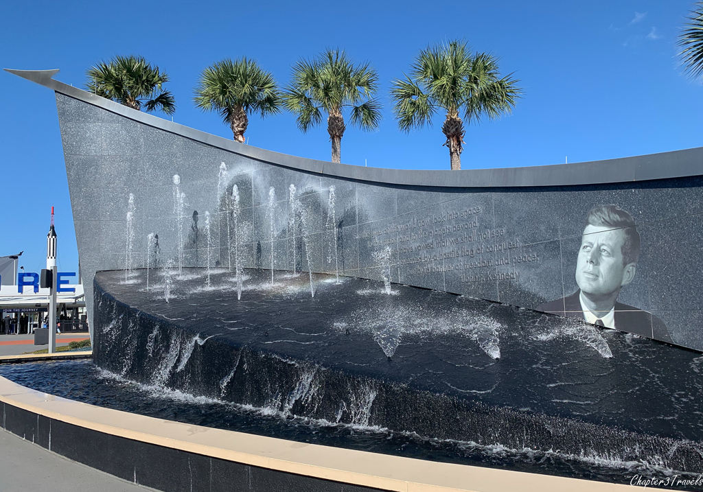 John F. Kennedy memorial fountain at the Kennedy Space Center