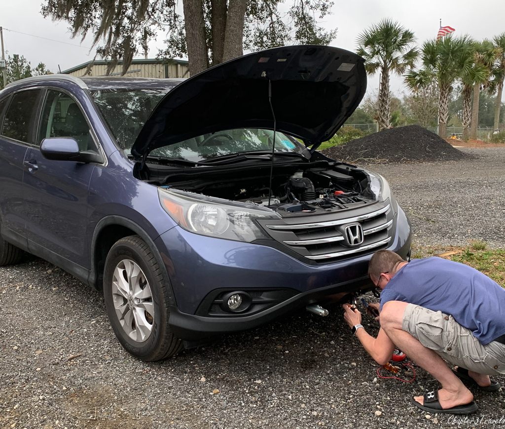 Kevin working on CRV