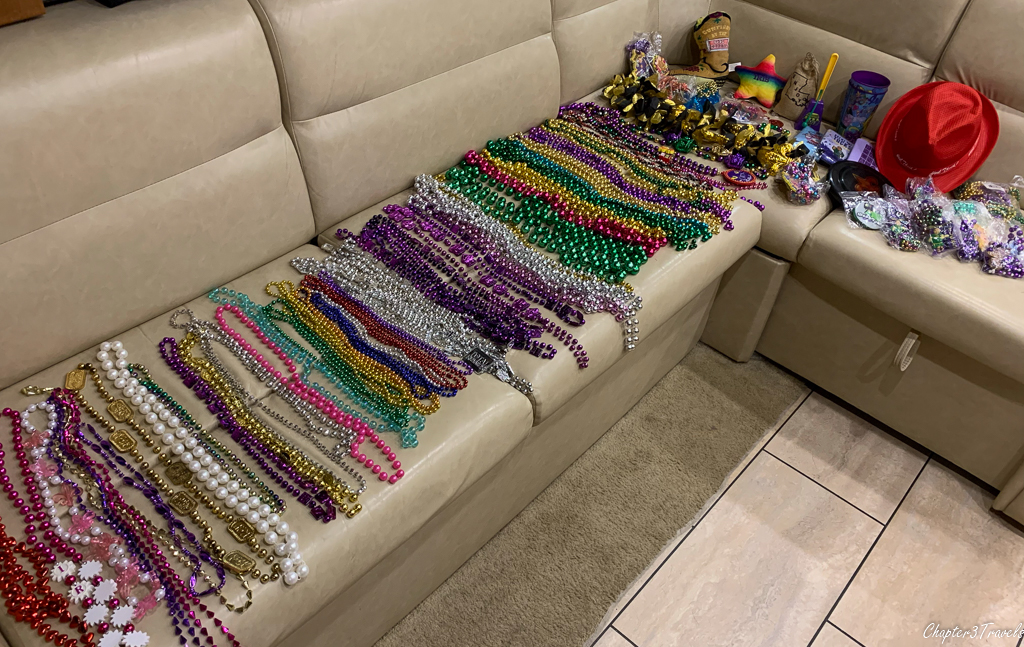 Beads and other throws from Mardi Gras