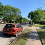 Car parked in residential neighborhood