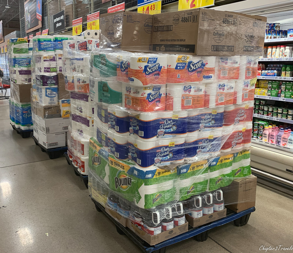 Pallets of paper goods at the grocery store