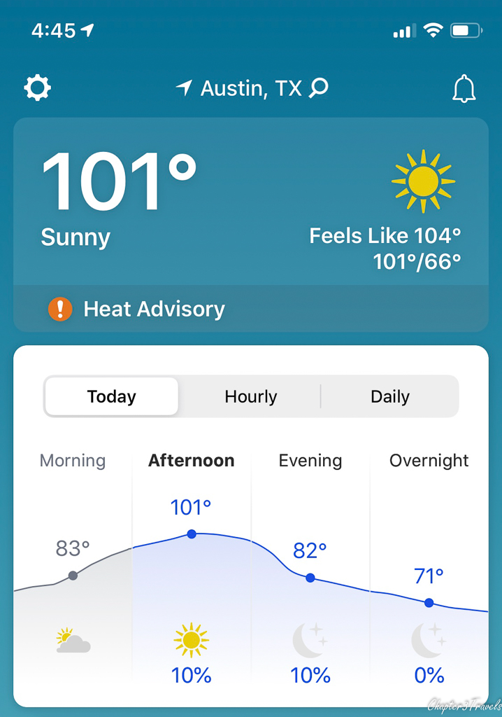 Forecast showing 101 degree temperature