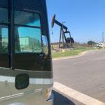 Oil derrick at front entrance of RV park