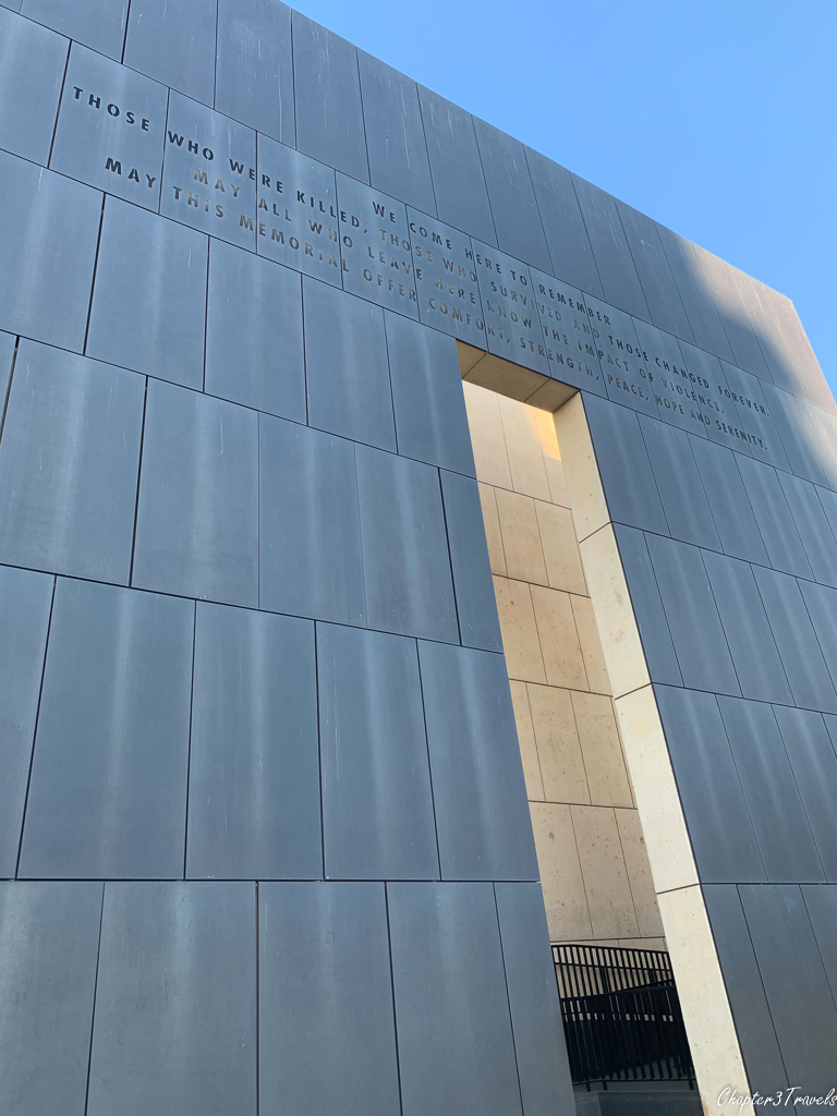 "One of the ""gates of time"" at the Oklahoma City Bombing Memorial"