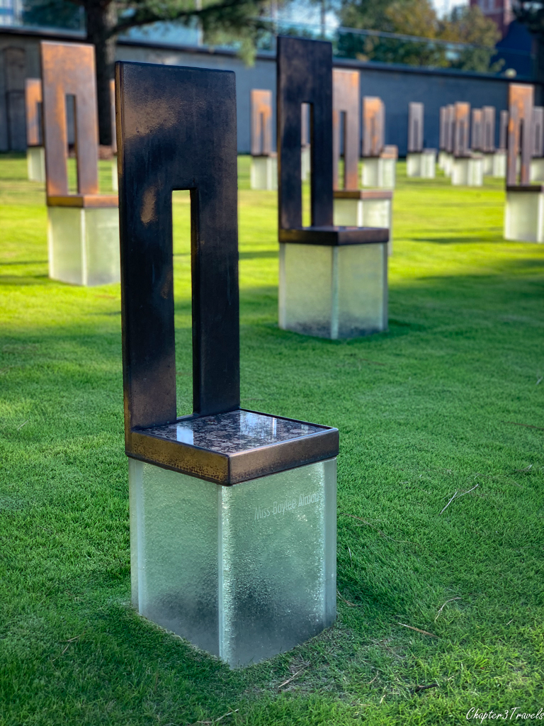 Memorial chair for Baylee Almon at the Oklahoma City Bombing Memorial