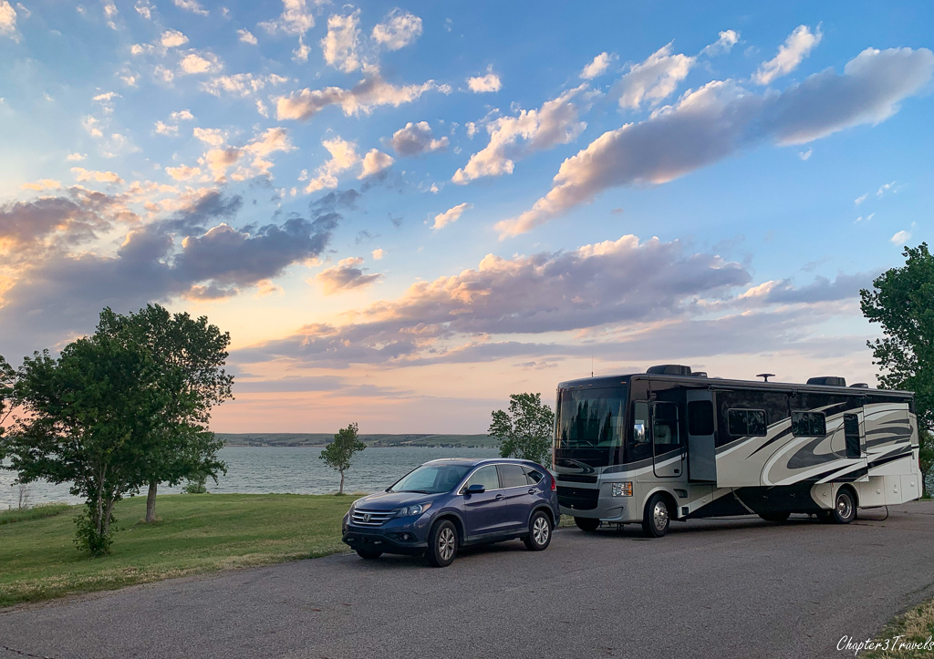 Lakefront campsite at Wilson State Park